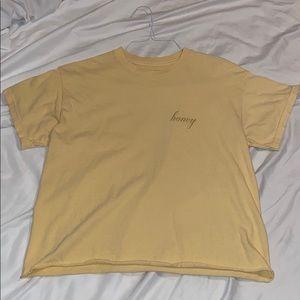 "EUC John Galt ""honey"" crop tee. Mustard. One size"
